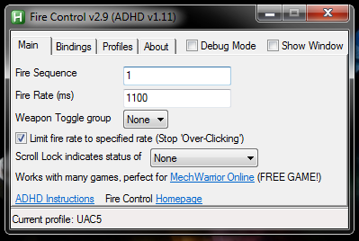 MWO Main Tab Settings Ultra AC5 Jam Macro